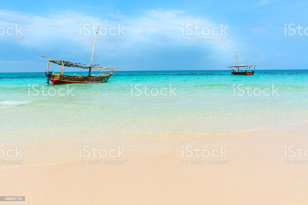 Dhow boats Indian ocean stock photo