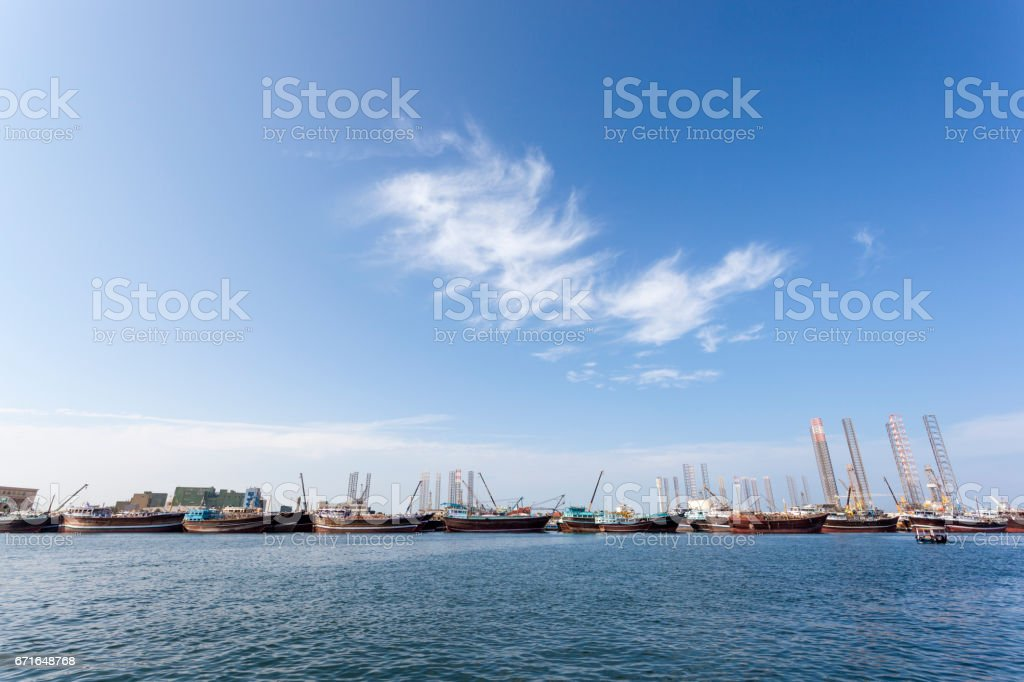 Dhow harbor and docks in Sharjah, UAE stock photo
