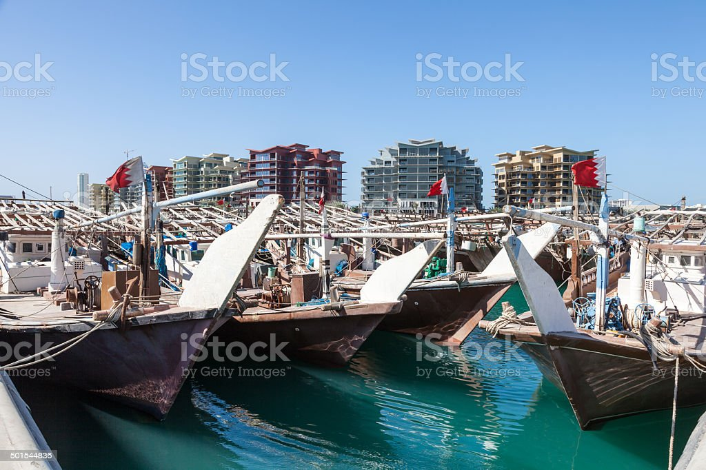 Dhow harbor in Manama, Bahrain stock photo