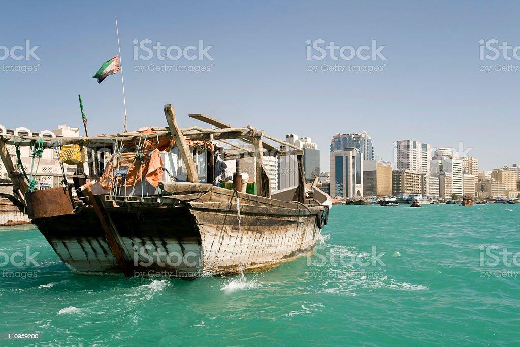 Dhow in Dubai center royalty-free stock photo
