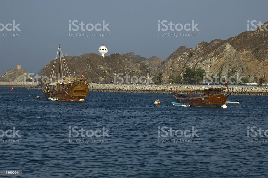 dhow in the harbor of old muscat royalty-free stock photo