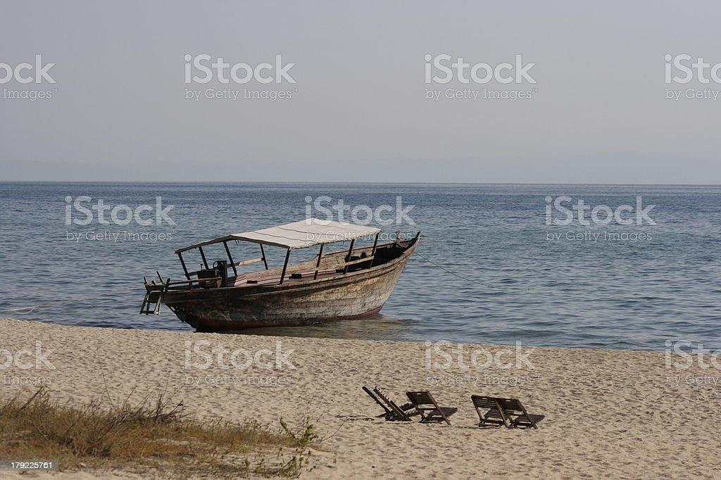 Dhow on Lake Tanganyika at Greystoke Tanzania stock photo