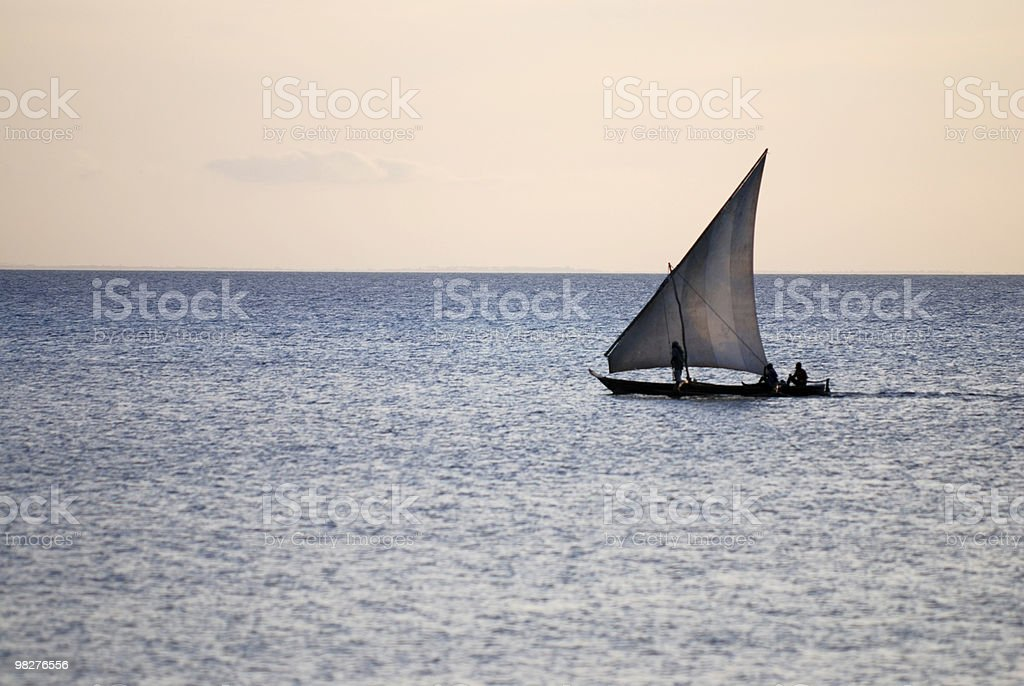 dhow sailing boat very early in the morning royalty-free stock photo