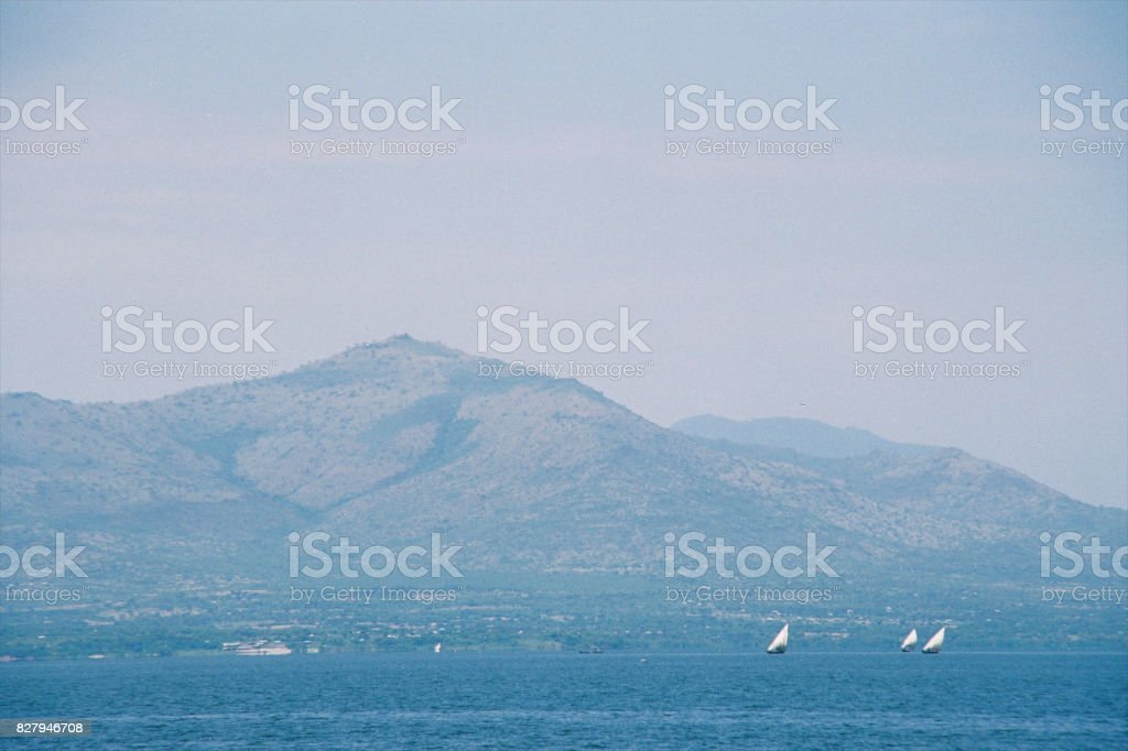 Dhows on a African Lake stock photo