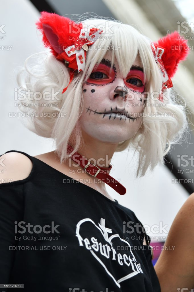 Dia De Los Muertos Carnival Sugar Skull Makeup Girl Stock Photo