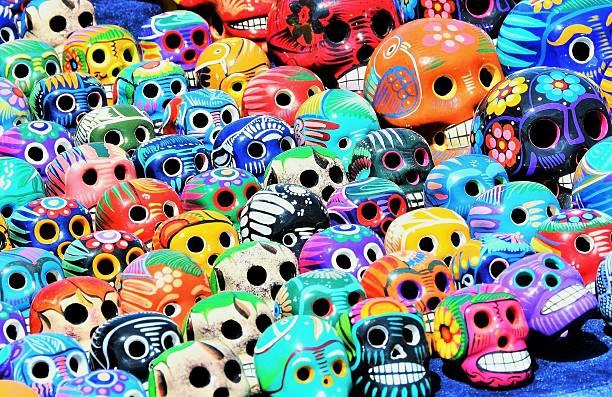 Dia de los Muertos (Day of the Dead) ceramic skulls stock photo