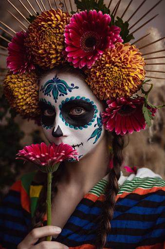 Dia De Los Muertos. Halloween Sugar skull creative make up.
