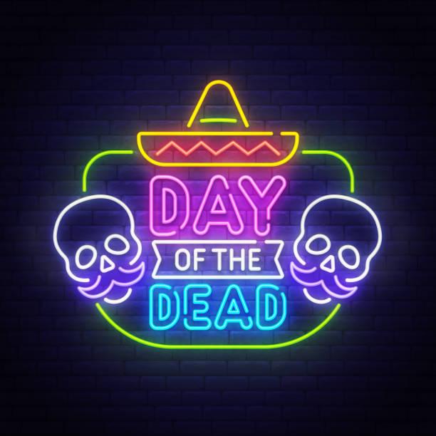 dia de los muertos leuchtreklame, hellen schild, leichte banner. tote tag, nacht-verkauf-logo, emblem. vektor-illustration - neon partylebensmittel stock-fotos und bilder