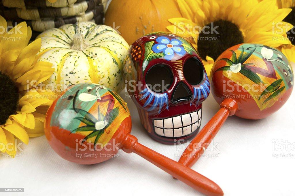 Dia De Los Muertos Skull & Offering royalty-free stock photo