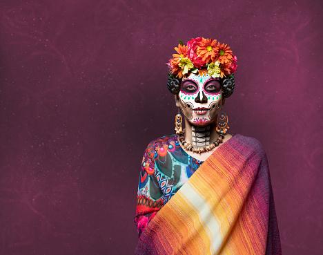 Dia de los Muertos woman with ceremonial make-up