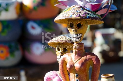 Dia de Muertos figurines in a marketplace in Old Town, San Diego