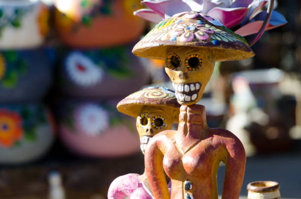 Dia de Muertos figurines in a marketplace in Old Town, San Diego stock photo