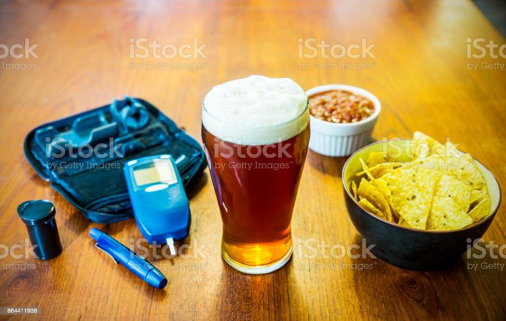 Diabetes and alcohol stock photo