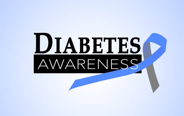 Diabetes awareness Diabetes awareness with blue and grey ribbon month stock pictures, royalty-free photos & images