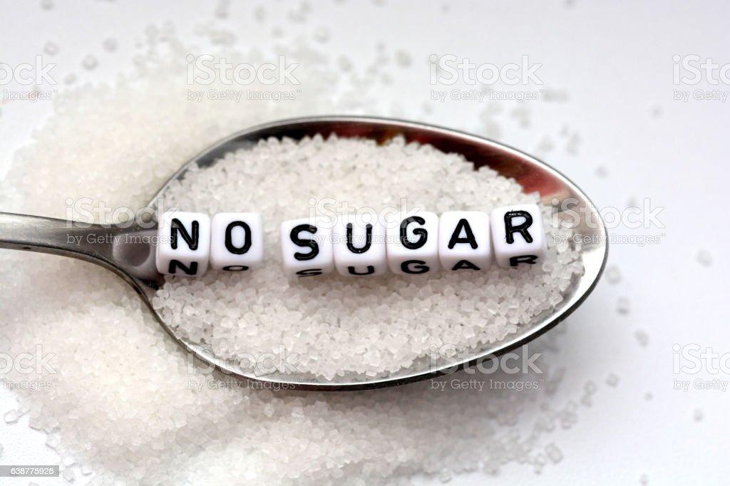 Diabetes concept suggesting no sugar consumption stock photo