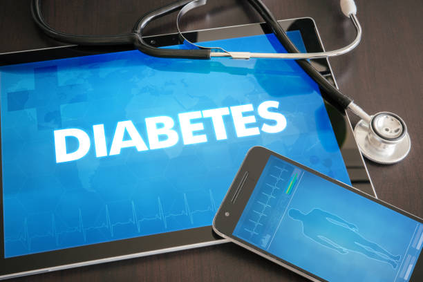 diabetes (endocrine disease) diagnosis medical concept on tablet screen with stethoscope - metabolic syndrome stock photos and pictures