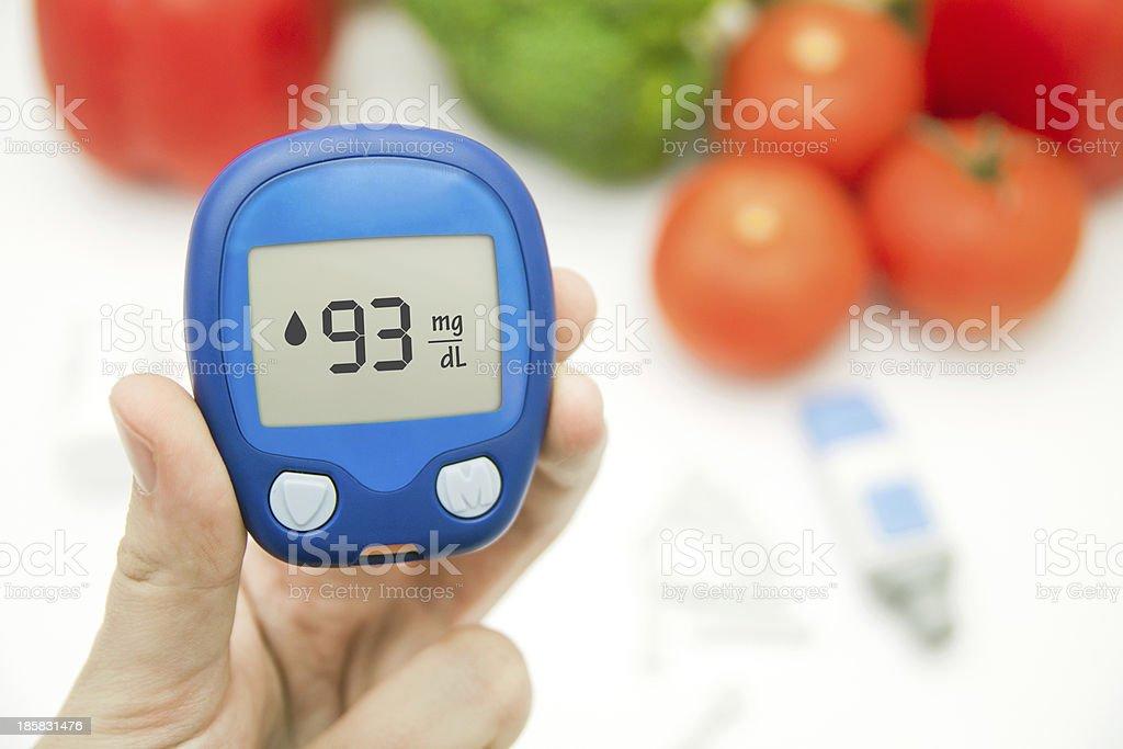 Diabetes doing glucose level test stock photo