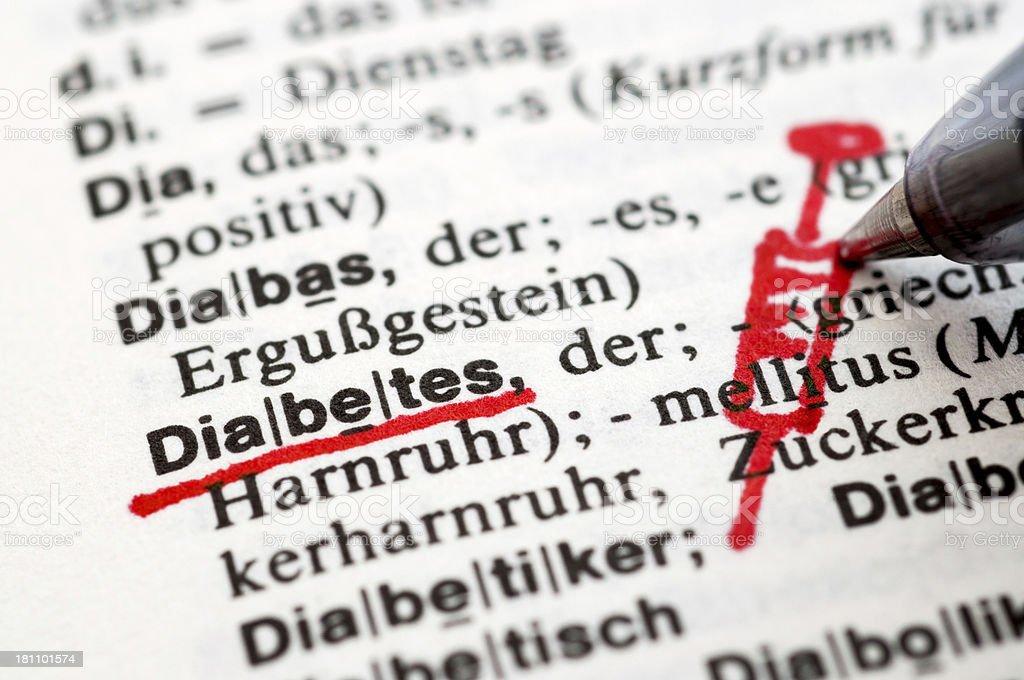Diabetes - German word drawing royalty-free stock photo