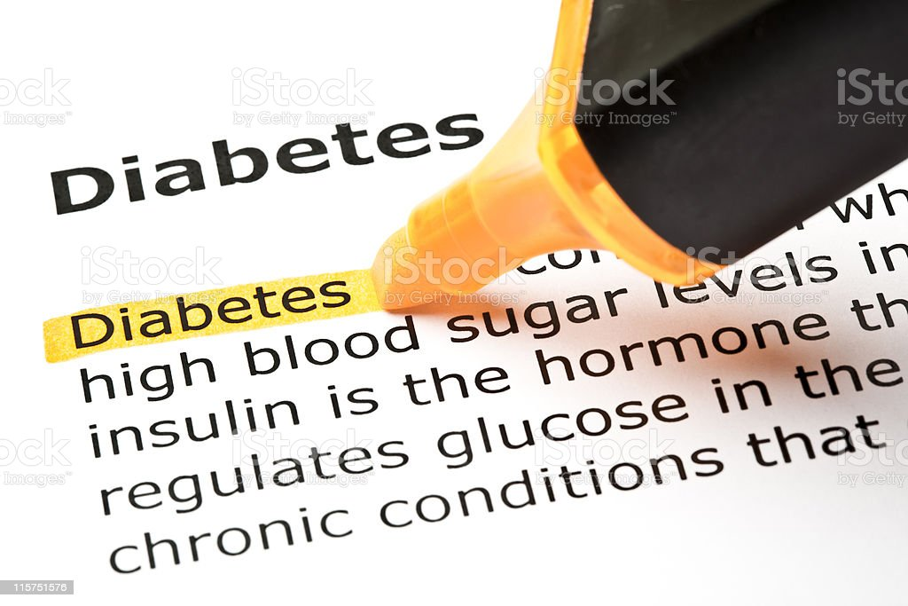 Diabetes highlighted in orange royalty-free stock photo