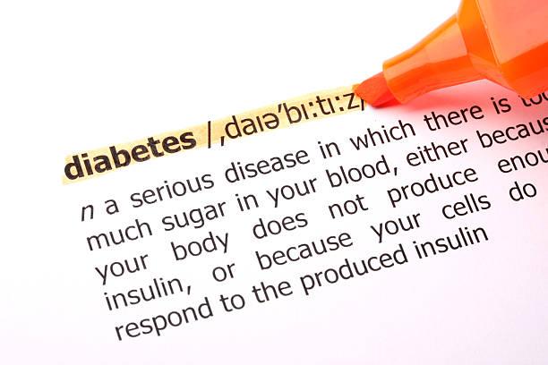 diabetes highlited wort definition - definition krankheit stock-fotos und bilder
