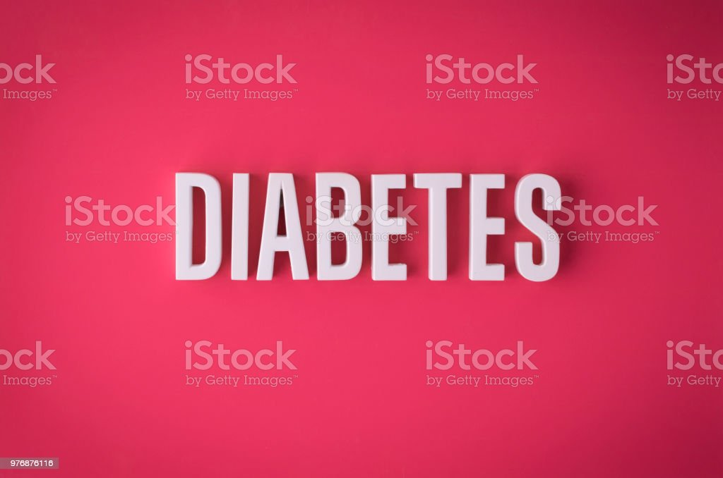 Diabetes lettering sign stock photo