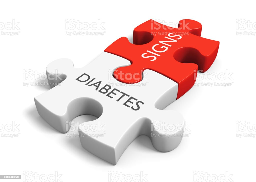 Diabetes mellitus metabolic disease signs and symptoms concept, 3D rendering stock photo