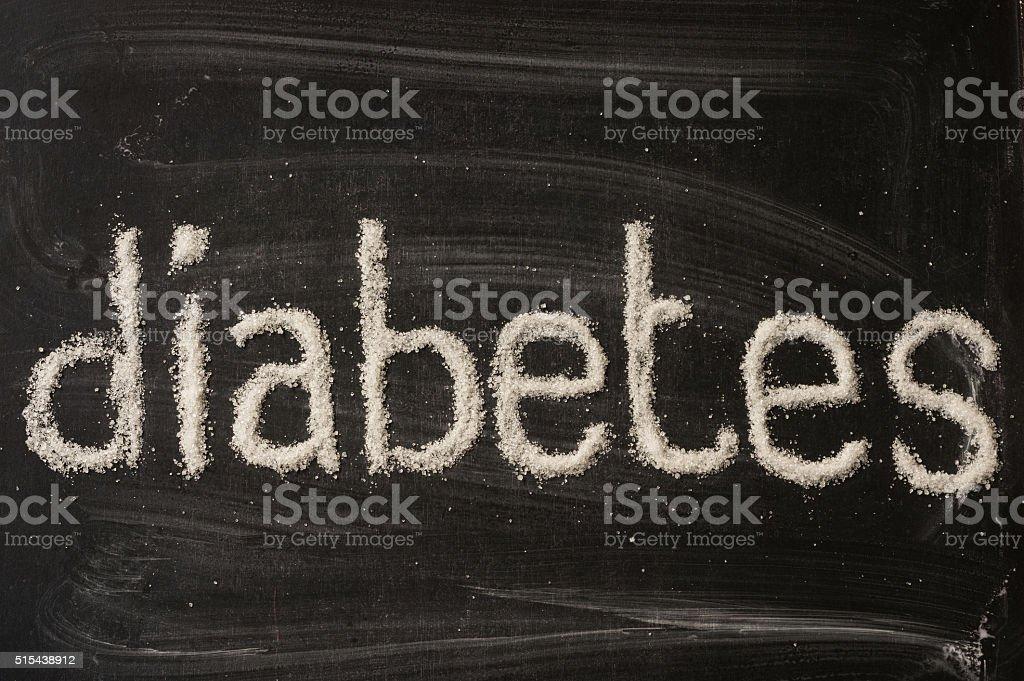 Diabetes word writen with sugar stock photo
