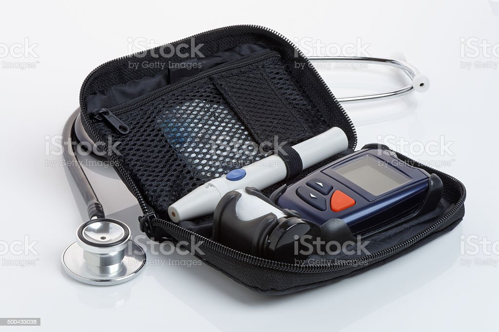 Diabetic Blood Test Kit (Glaucometer). Close Up.No logos. stock photo