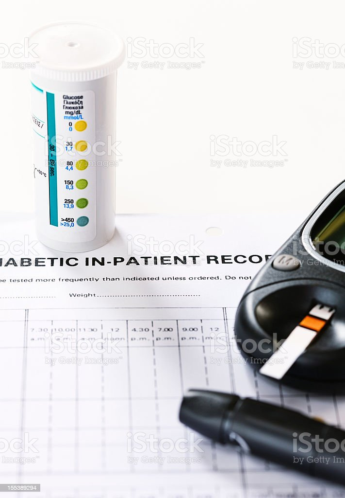 Diabetic daily diagnostic equipment royalty-free stock photo