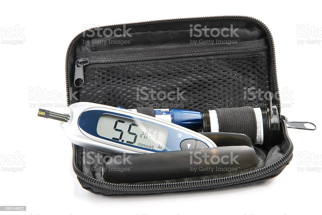 Diabetic Glucometer Blood sugar level testing kit stock photo