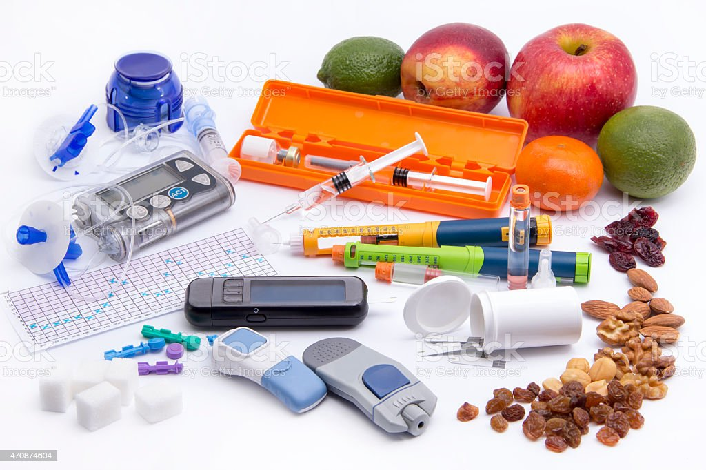 Diabetic insulin care (all you need to control diabetes) stock photo
