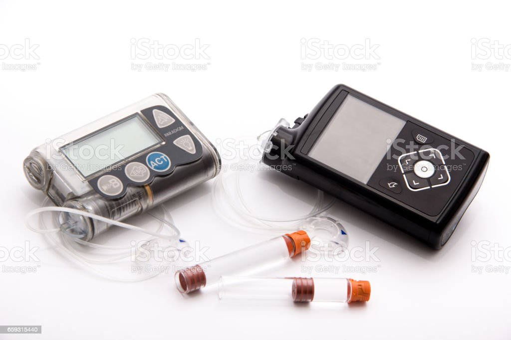 Diabetic items - New modern Sensor-Augmented insulin pump, blood sugar meter and glucose sensor with set stock photo