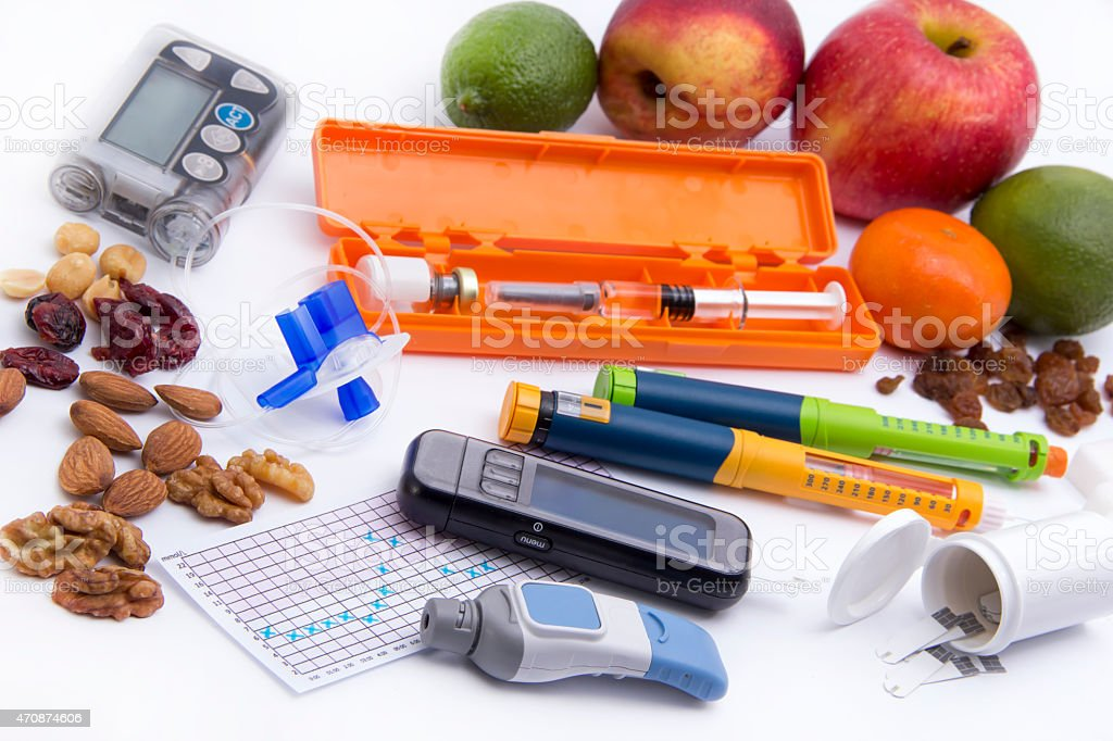 Diabetic items set (all you need to control diabetes) stock photo
