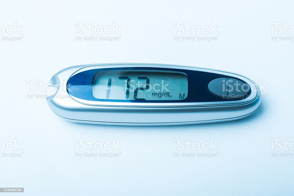 Diabetic kit, Syringe pen with insulin and glucometer stock photo