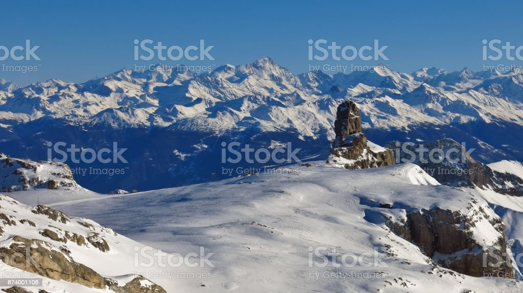 Diablerets glacier and famous rock Quille du Diable. Winter scene in Switzerland. stock photo