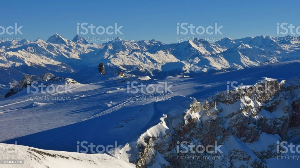 Diablerets glacier and mountain ranges in winter. Switzerland. stock photo
