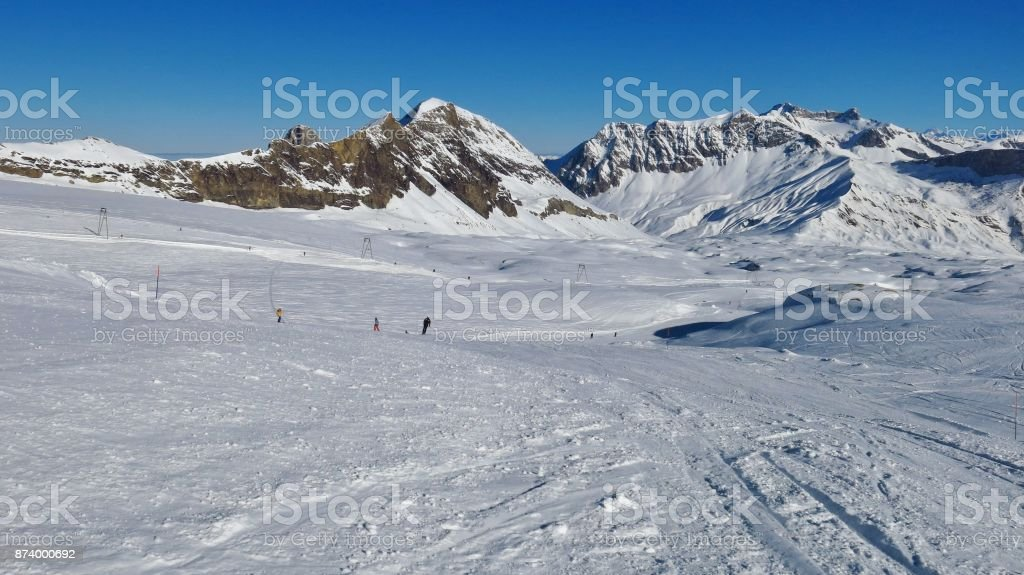 Diablerets glacier ski area, snow covered mountains and Sanetschpass. Winter day in Switzerland. stock photo