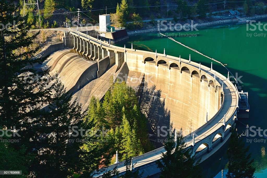 Diablo Dam in WA stock photo