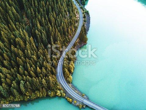 820775686 istock photo diablo lake aerial view 820775768