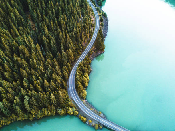 diablo lake aerial view - foto stock