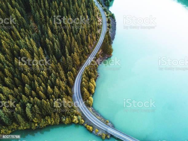 Photo of diablo lake aerial view
