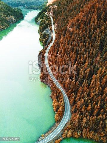 820775686 istock photo diablo lake aerial view 820775932