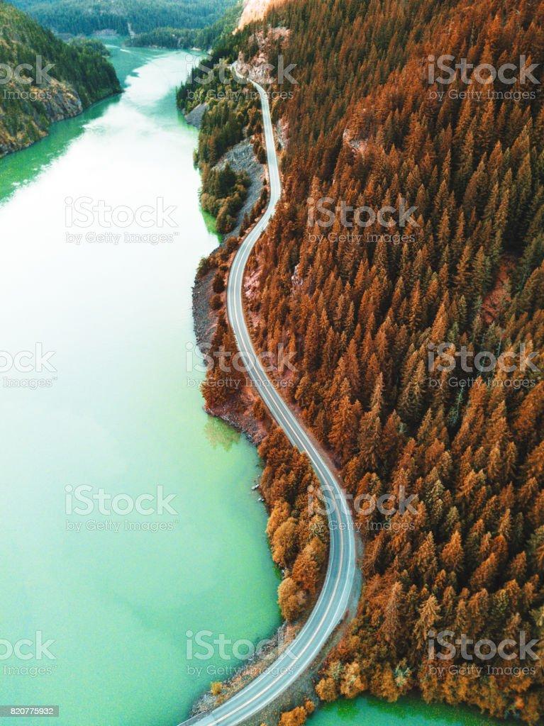 diablo lake aerial view stock photo