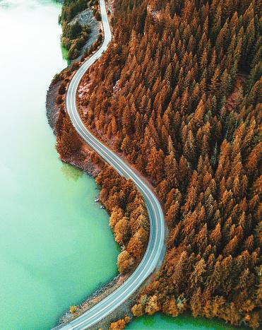 istock diablo lake aerial view 821264840