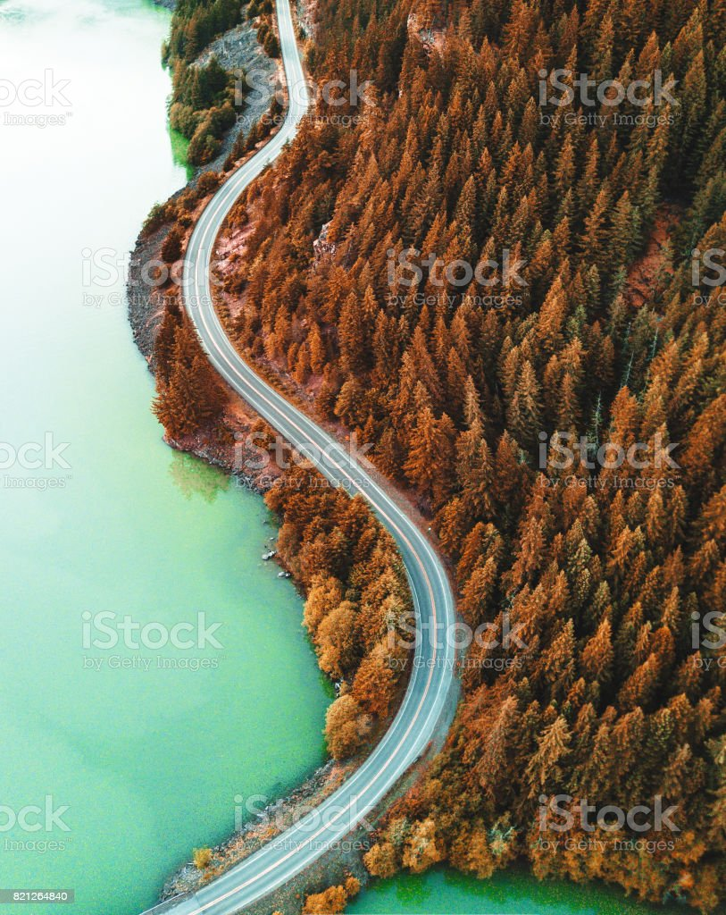 diablo lake aerial view stock photo