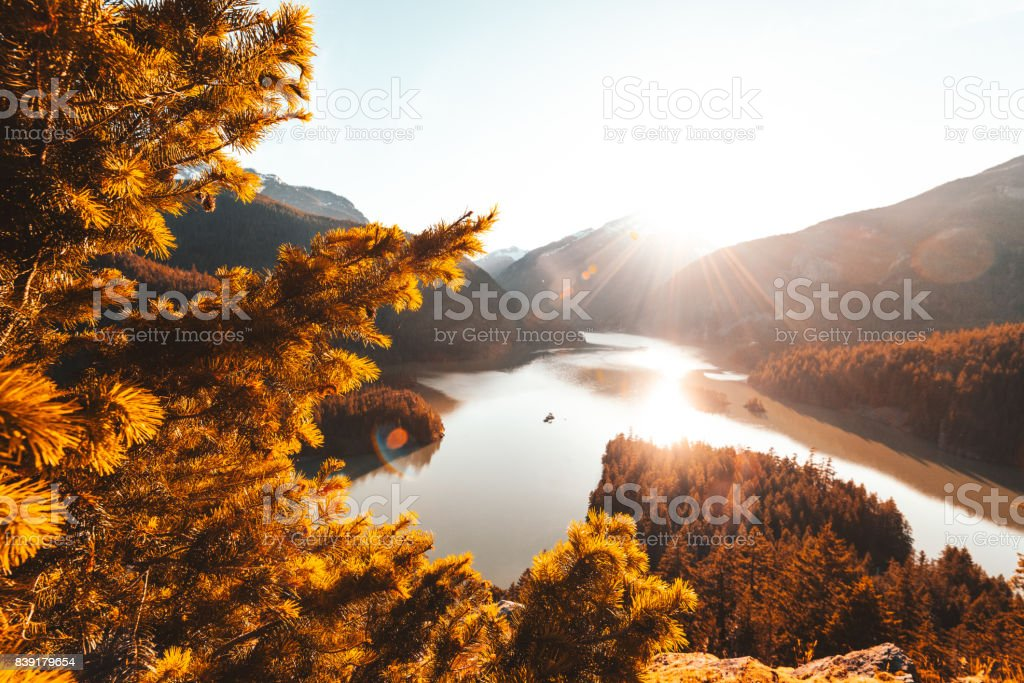 diablo lake view stock photo