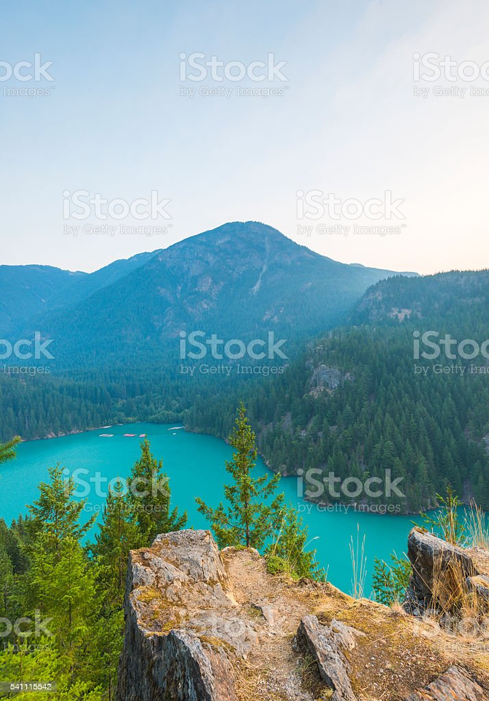 Diablo lake when sunset in North Cascade np. stock photo