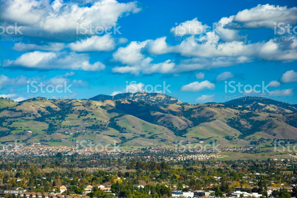 Diablo Range and Mount Hamilton view from Silicon Valley stock photo