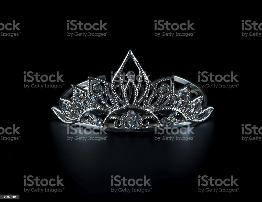 Diadem or tiara on black background stock photo