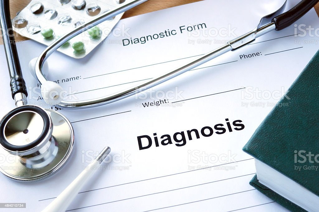 Diagnistic form with Diagnosis and stethoscope. stock photo
